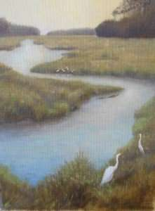oil painting study for bulow creek, florida landscape painting with egrets