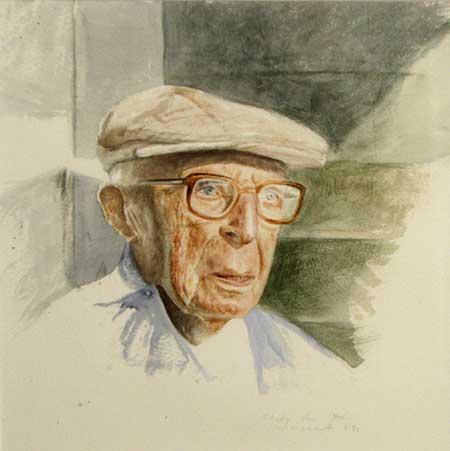 Watercolor study of his grandpa by Daniel Ambrose