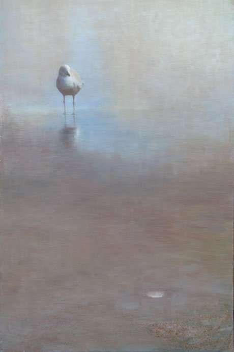 egg tempera painting of seagull